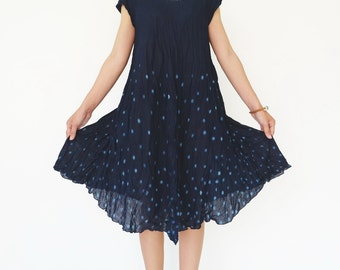 NO.88 Indigo Blue Cotton Polka Dot Tie Dyed Tunic Dress, Short Sleeve Tie-Dye Dress, Bias Cut Sundress, Women's Dress