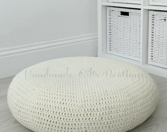 Crochet cover for ALSEDA stool. Ivory. Cream. Classic. Home furnishing. Floor pillow. Cozy home decor. Cover. Floor cushion.