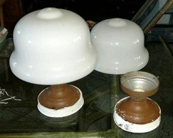Sale-A pair of 1925 Antique Milkglass Schoolhouse Light Fixtures ...