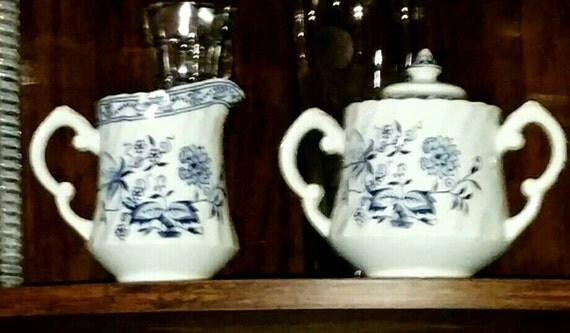 Sale price until Dec 31, 2016 Vintage Woods and Sons blue Fjord Staffordshire creamer and sugar bowl with lid.
