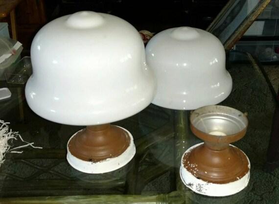 A pair of 1925 Antique Milkglass Schoolhouse Light Fixtures Lamps