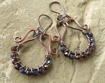 Beaded hoop earrings - brown & blue faceted Czech glass beads copper wire wrapped