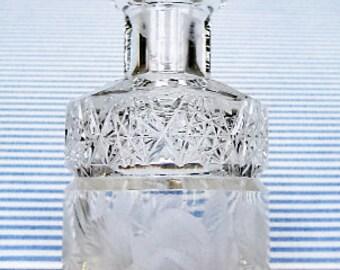 AMERICAN BRILLIANT Cut Glass PERIOD Antique Clear Cut-Crystal Perfume Cologne Bottle Vintage Scent Bottle Decanter-