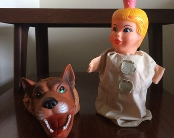 Vintage Queen and Wolf Hand Puppets
