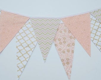 SALE: Peach Coral Gold Banner--Fabric Bunting--Birthday Banner--Baby Shower Decor--Room Decor--Photo Prop