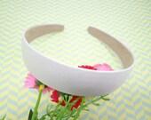 SALE--5 pcs Rice White Satin Headbands-- 30mm Wide