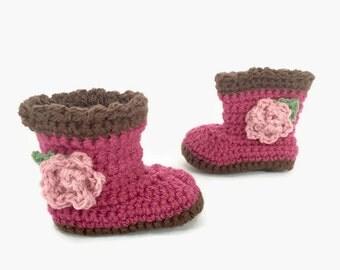 crochet baby girl boots | baby girl shoes | crochet booties | pink baby booties | baby girl gift | baby shower gift | baby photo prop