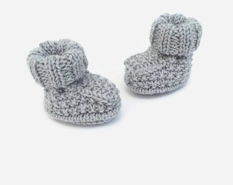knitted baby booties grey baby bootees knitted baby shoes