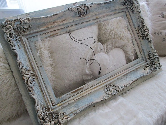 Large Distressed Ornate Frame Wall Hanging Blue W/ Cream