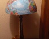 Trombone Lamp with baby blue World Globe Northern Hemisphere shade