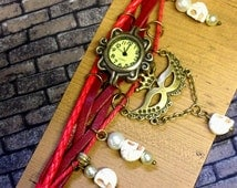 Love Never Dies Handmade Leather Charm Watch Goth Victorian Steampunk Anatomy Horror Tattoo Burlesque