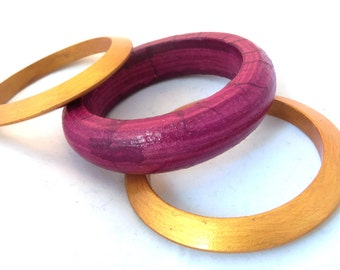 Pink purple wooden bracelets