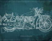 1939 Brough Superior SS100 Motorcycle Blueprint, Art PrintMotorcycle Art print,Original Drawing for men cave,red,green,brown or blue print