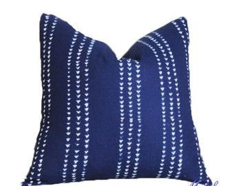 Blue White Indigo Designer Pillow - Blue Modern Pillow - Dark Blue Decorative Pillow - Blue Striped Pillow Cover - Motif Pillows - Deep Blue