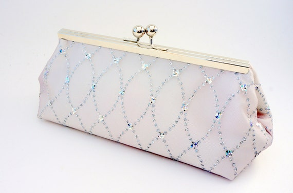 Silver & Ivory Shimmer Bridal Clutch Purse - Evening/Wedding/Formal/Bridesmaid Handbag - Vintage Style - Includes Chain - Made to Order