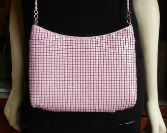 Vintage 80s Pink Bubble Gum Metal Mesh Shoulder Bag Purse