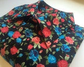 Men's shirt black base blue and red rose floral pattern long sleeves good quality soft fabric three made only