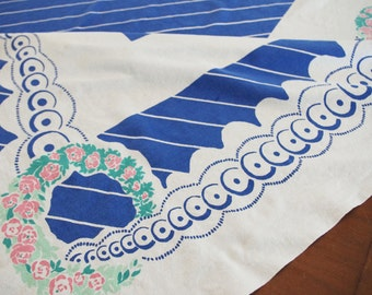 Vintage Printed Tablecloth: Striped Blue & White with Pink Flowers  1950s