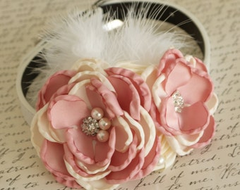 Ivory and Dusty Pink Flower Wedding dog collar, Dog Chokers, gift, Pet wedding, flowers with Pearls and Rhinestone
