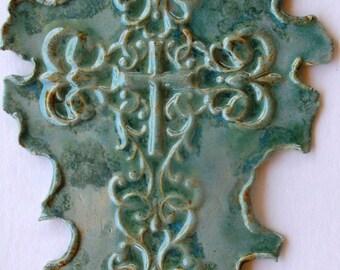 Pale Bluegreen Cross Multi Glazed Large Wall On Sale