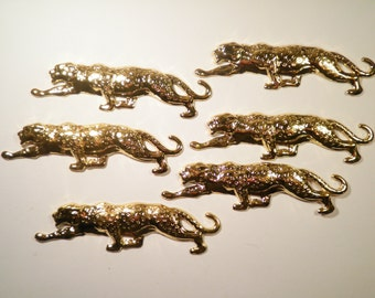 6 Vintage Gold Plated Tiger Stampings Findings Charms