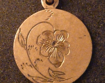 Vintage Art Nouveau  Love Token Pansy Initials GB  Pendant Old  Charm Jewelry