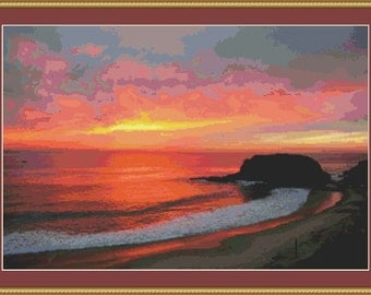 Sunset At The Beach Cross Stitch Pattern