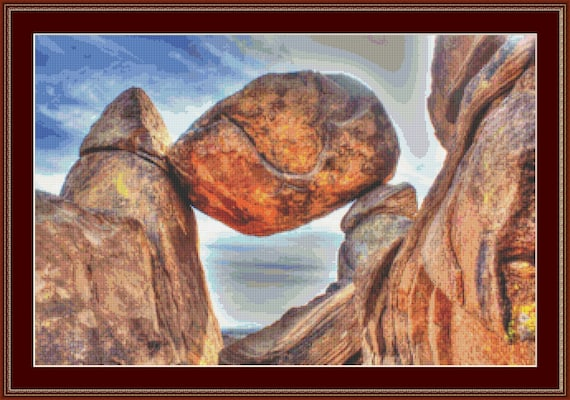 Balancing Rock Cross Stitch Pattern /Digital PDF Files /Instant downloadable