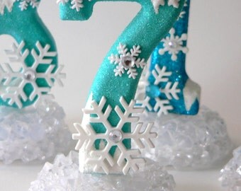 Cake Topper Number 7 Snowflakes Ice Winter Birthday Cake Number LAST ONE! NUMBER 7 Winter Wonderland