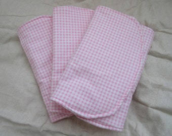 Three (3) Flannel Burp Cloths - Pink and White Gingham - Quilted and Contoured - Baby Girl Shower Gift