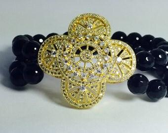Flower CZ sterling silver bracelet
