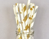 Gold Straws, Paper Straws, Wedding Straws, Party Straws, Gold and White set of 25