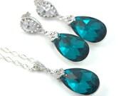 Teal Green Jewelry Set Crystal Jewelry Set Earrings and Necklace Bridesmaid Gift Teardrop Earrings Drop Earrings Cubic Zirconia BZ32JS