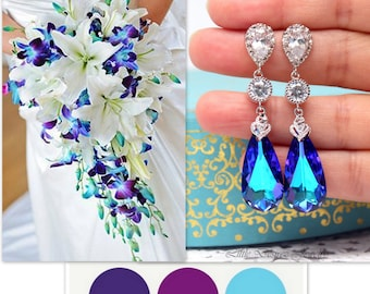 Bridal Blue Purple Earrings Wedding Purple Turquoise Earrings Peacock Jewelry Bridesmaid Gift Heliotrope Swarovski Crystal Earrings HE33PC