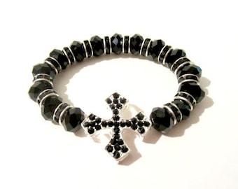 Sideways Cross Bracelet - Black