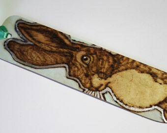 Hare Pyrography Bookmark - Pastel Green - Woodburning