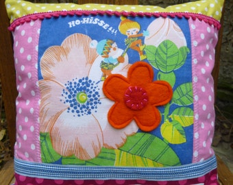 """Small pillow buddy deco vintage colorful child """"Elves"""""""
