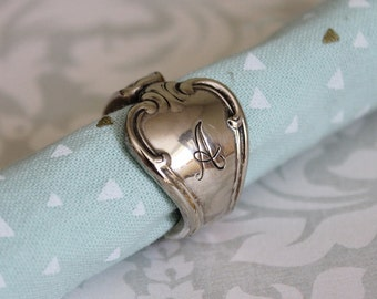 Monogram A Spoon Ring Band - Size 6.5 Silver Plated