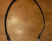 23 Inch Leather Purse Strap, brown w/ silver clips & gunmetal (dark silver) rivets, short shoulder strap