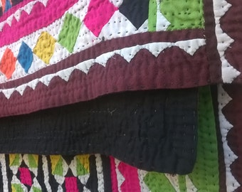 Vintage Geometric Handmade Quilt Bohemian Tribal Colorful