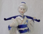 Vintage Porcelain Hand Painted Chinese Woman Figurine - White Porcelain Cobalt Blue and Gold Gilt Trim - Asian Oriental Japanese Statue