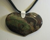 HEART SHAPE Blossom Jasper Necklace..