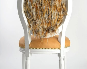 Tufted Boho Chic Neutral Camel Caramel Genuine Leather Side Accent dining chair upholstered in feathers painted white with gold accents