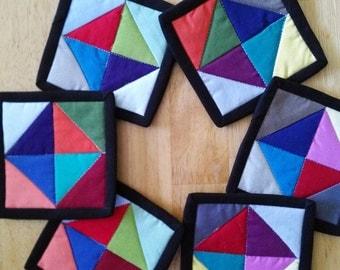 Coasters, Fabric Coasters, Colorful Fabric Coasters