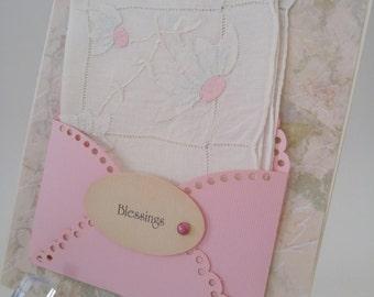 Sweet Vintage Appliqued Handkerchief Pale Blue Peach Floral Friend Thinking Of You Blessings Birthday Keepsake Gift Hanky Card