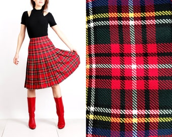 Vintage Red Plaid Tartan Accordion High Waisted Skirt Size 38 M