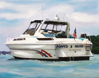 Custom Portrait on Canvas from Photos - Yacht and Boat Painting - Pre-Stretched