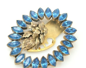 Blue Rhinestone Dress  Clip Art Deco Brass Leaf Fur clip