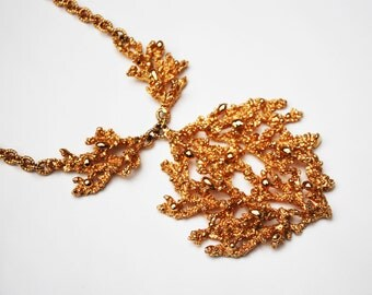 Napier Gold Plated Coral Necklace - Book Piece - Eugene Bertolli - sculpted Coral -