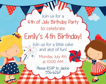 Personalized Kids 4th of July Birthday Invitation - Printable File